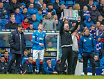 22.04.2018 Rangers v Hearts: Graeme Murty brings on Andy Halliday