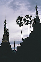 Stupas and trees on the main terrace of the Shwedagon Pagoda silhouetted against the dawn sky. Countless small stupas jostle round the bulk of the main dome.