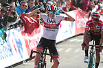 Tadej Pogacar (SLO) UAE Team Emirates wins with race leader Red Jersey Primoz Roglic (SLO) Team Jumbo-Visma behind Stage 13 of La Vuelta 2019 running 166.4km from Bilbao to Los Machucos, Spain. 6th September 2019.<br /> Picture: Luis Angel Gomez/Photogomezsport | Cyclefile<br /> <br /> All photos usage must carry mandatory copyright credit (© Cyclefile | Luis Angel Gomez/Photogomezsport)