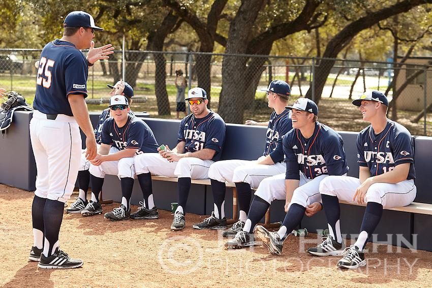 SAN ANTONIO, TX - FEBRUARY 14, 2015: The University of Louisiana at Lafayette Ragin' Cajuns defeat the University of Texas at San Antonio Roadrunners 8-2 at Roadrunner Field. (Photo by Jeff Huehn)