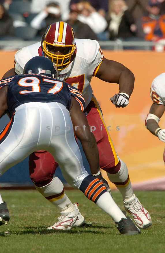 Randy Thomas during the Washington Redskins v. Chicago Bears game on October 17, 2004,..Washington wins 13-10..David Durochik / SportPics