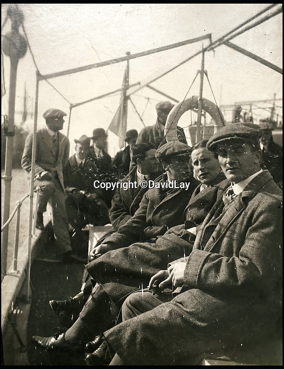 BNPS.co.uk(01202 558833)<br /> Pic: DavidLay/BNPS<br /> <br /> The British squad en route to Argentina.<br /> <br /> A rare photo album which documents the historic first British Lions' tour to Argentina in 1910 has been unearthed, and it shows rugby players were no strangers to a bit of mischief back then.<br /> <br /> The fascinating photos capture what went on both on and off the pitch as a squad of 16 English and three Scottish players embarked on a six match tour of the country culminating in a historic test match with Argentina.<br /> <br /> It was Argentina's first ever test match and the Lions emerged 28-3 winners in a game played at a polo ground in Buenos Aires.<br /> <br /> The photos capture the vibrant social side of the tour as the rugby players were not afraid to let their hair down.