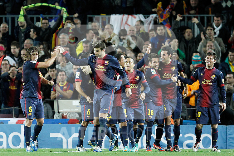 FC Barcelona's Carles Puyol, Xavi Hernandez, Andres Iniesta, Gerard Pique, Adriano Correia, Alexis Sanchez, Jordi Alba, Sergio Busquets and Leo Messi celebrate goal during La Liga match.December 16,2012. (ALTERPHOTOS/Acero)