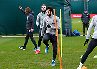 10th March 2020; Anfield, Liverpool, Merseyside, England; UEFA Champions League, Liverpool versus Atletico Madrid, Liverpool training;  Mohamed Salah of Liverpool during today's open training session at Melwood ahead of tomorrow's Champions League match against Atletico Madrid