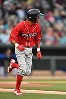 Second baseman Daniel Brito (21) of the Lakewood BlueClaws runs toward first in a game against the Columbia Fireflies on Friday, May 5, 2017, at Spirit Communications Park in Columbia, South Carolina. Lakewood won, 12-2. (Tom Priddy/Four Seam Images)