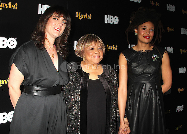 NEW YORK, NY - FEBRUARY 24:  Director Jessica Edwards, singer Valerie June and along with Mavis Staples at the New York premiere of HBO Documentary Films' 'Mavis!', the documentary about Rock and Roll Hall of Famer and 2016 Grammy winner Mavis Staples in New York, New York on February 24, 2016.  Photo Credit: Rainmaker Photo/MediaPunch