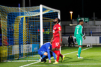 James Alabi of Leyton Orient sees a chance go to waste during the The Leasing.com Trophy match between AFC Wimbledon and Leyton Orient at the Cherry Red Records Stadium, Kingston, England on 8 October 2019. Photo by Carlton Myrie / PRiME Media Images.