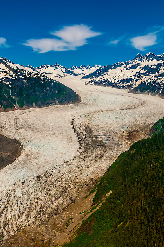 Aerial view of the Mendenhall Glacier, Juneau, Alaska USA.