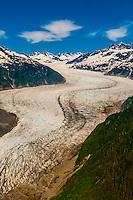Aerial view of the Mendenhall Glacier, Juneau, Alaska USA.