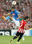 Athletic de Bilbao's Benat Intxausti (r) and SSC Napoli's Raul Albiol during Champions League 2014/2015 Play-off 2nd leg match.August 27,2014. (ALTERPHOTOS/Acero)