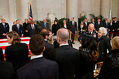 Members of the Scalia family are escorted to their seats as they arrive for a private ceremony in the Great Hall of the United States Supreme Court where late Supreme Court Justice Antonin Scalia lies in repose in Washington, DC on Friday, February 19, 2016. <br /> Credit: Jacquelyn Martin / Pool via CNP