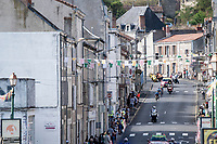early breakaway group rolling through town<br /> <br /> Stage 12 from Chauvigny to Sarran (218km)<br /> <br /> 107th Tour de France 2020 (2.UWT)<br /> (the 'postponed edition' held in september)<br /> <br /> ©kramon