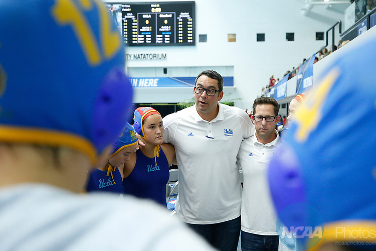 INDIANAPOLIS, IN - MAY 14: UCLA head coach Brandon Brooks talks to his team prior to the Division I Women's Water Polo Championship against Stanford University held at the IU Natatorium-IUPUI Campus on May 14, 2017 in Indianapolis, Indiana. (Photo by Joe Robbins/NCAA Photos/NCAA Photos via Getty Images)