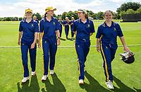 Epsom Girls Grammar School players walk off the field as a team, Venus Cup Finals, Hagley Park, Christchurch, New Zealand. 8th December 2019. Photo: Joseph Johnson, www.bwmedia.co.nz