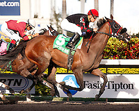 Musical Romance(5) and jockey Juan Leyva winning the Inside Information Stakes(G2) at Gulfstream Park. Hallandale Beach, Florida. 03-17-2012