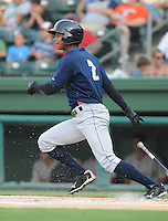 Outfielder Eduardo Sosa (2) of the Charleston RiverDogs, Class A affiliate of the New York Yankees, in a game against the Greenville Drive on July 31, 2011, at Fluor Field at the West End in Greenville, South Carolina. (Tom Priddy/Four Seam Images)