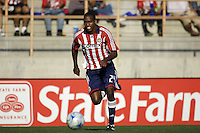 The Chivas USA forward Atiba Harris (24) moves towards the goal with the ball. The Chivas USA and New England Revolution played to 1-1 draw during an early round of the 2008 SuperLiga at Cal State Fullerton Titan stadium in Fullerton, California on Sunday July 20, 2008.