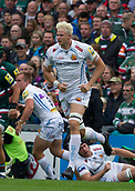 30th September 2017, Welford Road, Leicester, England; Aviva Premiership rugby, Leicester Tigers versus Exeter Chiefs;  Jonny Hill in action for Exeter