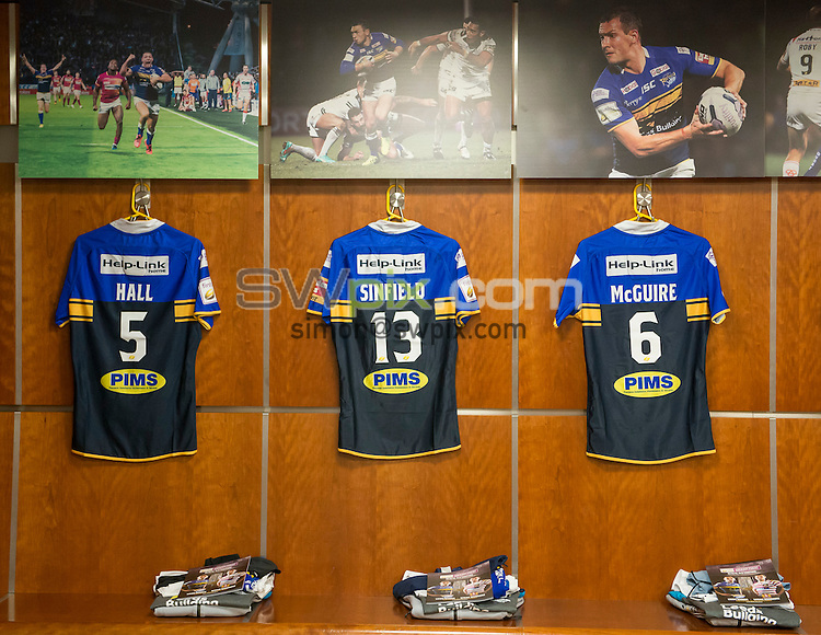Picture by Allan McKenzie/SWpix.com - 10/10/2015 - Rugby League - First Utility Super League Grand Final - Leeds Rhinos v Wigan Warriors - Old Trafford, Manchester, England - Leeds shirts, dressing room, branding.