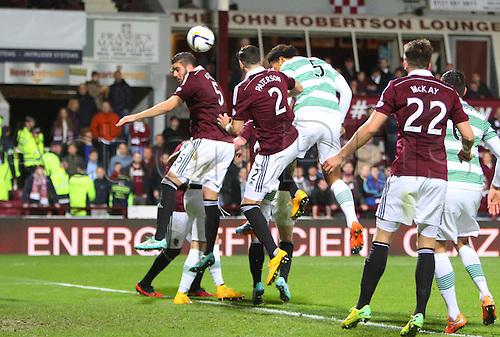 30.11.2014.  Edinburgh, Scotland. Scottish Cup.  Hearts versus Celtic. Virgil van Dijk headers Celtic's 4th goal