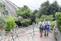 Escursionisti percorrono i 377 scalini della Lardarina per raggiungere il borgo di Corniglia dalla stazione ferroviaria, alle Cinque Terre.<br /> Hikers make their way along the 377 'Lardarina' steps to reach the village of Corniglia from the railway station, at the Cinque Terre.<br /> UPDATE IMAGES PRESS/Riccardo De Luca