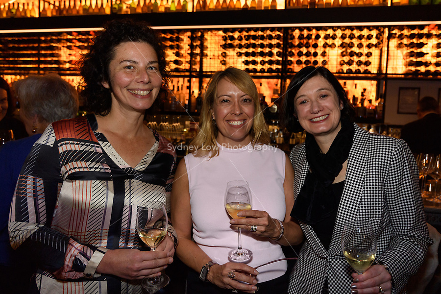 Melbourne, June 26, 2018 - Dani Valent, Tara Bishop, and Trish Harty pose for a photograph at a celebration event for Bocuse d'Or Australia team and their sponsors and supporters at Philippe Restaurant in Melbourne, Australia. Photo Sydney Low.