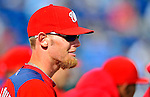 4 March 2011: Washington Nationals pitcher Stephen Strasburg watches the action during a Spring Training game against the Atlanta Braves at Space Coast Stadium in Viera, Florida. The Braves defeated the Nationals 6-4 in Grapefruit League action. Mandatory Credit: Ed Wolfstein Photo