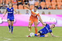Houston, TX - Sunday Sept. 25, 2016: Carli Lloyd, Jessica Fishlock during a regular season National Women's Soccer League (NWSL) match between the Houston Dash and the Seattle Reign FC at BBVA Compass Stadium.