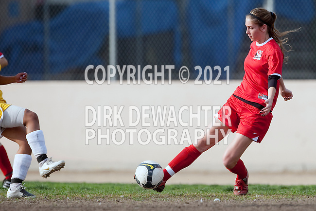 Los Angeles, CA 02/01/10 - Carrie Markwith (Westchester #3) in action during the Westchester vs Fairfax Girls Varsity soccer game at Fairfax High School.