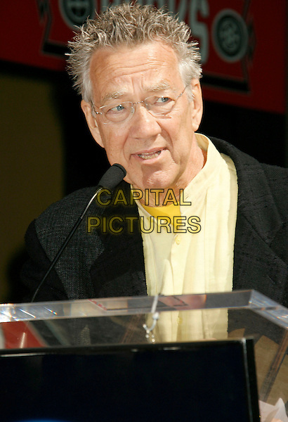 "RAY MANZAREK OF ""THE DOORS"".The Doors Celebrate 40th Anniversary with  a Star on the Hollywood Walk of Fame, Hollywood, California , USA,.28 February  2007 .portrait headshot microphone .CAP/ADM/RE.©Russ Elliot/AdMedia/Capital Pictures. *** Local Caption *** ."