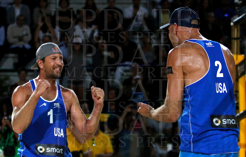Sean Rosenthal, left, and Phil Dalhausser, of the United States, celebrate during the men's final match between Usa and Latvia at the Beach Volleyball World Tour Grand Slam, Foro Italico, Rome, 23 June 2013. USA defeated Latvia 2-0.<br /> UPDATE IMAGES PRESS/Isabella Bonotto