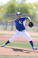 Spencer Patton #84 of the Kansas City Royals pitches during a Minor League Spring Training Game against the San Diego Padres at the Kansas City Royals Spring Training Complex on March 26, 2014 in Surprise, Arizona. (Larry Goren/Four Seam Images)