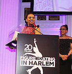 Figure Skating in Harlem celebrates 20 years - Champions in Life benefit Gala on May 2, 2017 as As The World Turns' Tamara Tunie and Candace Matthews pose at 583 Park Avenue, New York City, New York. (Photo by Sue Coflin/Max Photos)