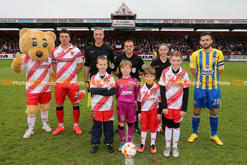Pre-match line up during Stevenage vs Accrington Stanley, Sky Bet EFL League 2 Football at the Lamex Stadium on 6th May 2017