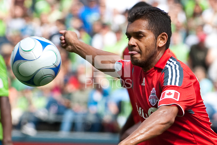 Amado Guevara of Toronto FC works the ball against the Seattle Sounders in the match at the XBox Pitch at Quest Field on August 29, 2009. The Sounders and Toronto played to a 0-0 draw.