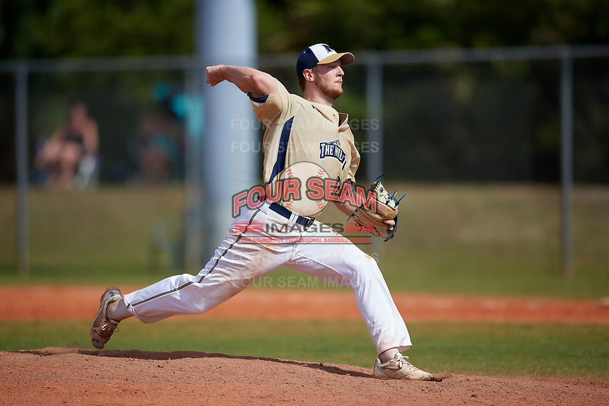 Mount St. Mary's Mountaineers starting pitcher Jordan Geber (28) during a game against the Ball State Cardinals on March 9, 2019 at North Charlotte Regional Park in Port Charlotte, Florida.  Ball State defeated Mount St. Mary's 12-9.  (Mike Janes/Four Seam Images)