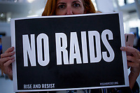 NEW YORK, USA - September 12 : A woman posing for a portrait during a silent protest on September 12, 2019 in New York, USA.<br /> Demonstrators joinedfor a silent protest againist ICE, child immigrant detention, and torture of asylum seekers at the Oculus in New York City. <br /> (Photo by Luis Boza/VIEWpress/Corbis via Getty Images).