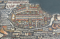 "Jerusalem, detail of the Madaba Mosaic Map, 6th century Byzantine mosaic floor, oldest extent map of Palestine, Greek Orthodox Church of Saint George, 1864, Madaba, Jordan. North-south Cardo and valley streets (lined with columns), the Damascus Gate plaza and pillar, the city walls, the Church of the Holy Sepulcher, the Church of Holy Zion (Hagia Sion), and Justinian's ""Nea"" Church are depicted in the map. Picture by Manuel Cohen"