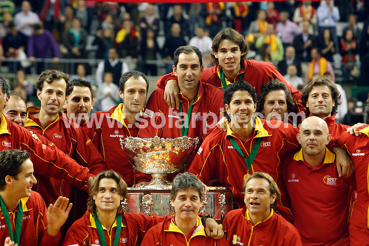 **ALL-ROUND PICTURES FROM SOLARPIX.COM**.**WORLD SYNDICATION RIGHTS EXCEPT BELGIUM, GERMANY, HOLLAND, SCANDINAVIA, SOUTH AMERICA, SPAIN, & USA**.Spain clinches its fourth Davis cup Tennis Title in Barcelona Spain..Rafael Nadal recorded victory overJan Hajek to give Spain a 4-0 lead. Five-set thriller closes perfect day for Spain David Ferrer posted anextraordinary comeback to defeat Radek Stepanek in five sets...This pic: ..JOB REF:10351      SKX      DATE:  06.12.09.**MUST CREDIT SOLARPIX.COM OR DOUBLE FEE WILL BE CHARGED**.**MUST NOTIFY SOLARPIX OF ONLINE USAGE**.**CALL US ON: +34 952 811 768 or LOW RATE FROM UK 0844 617 7637**