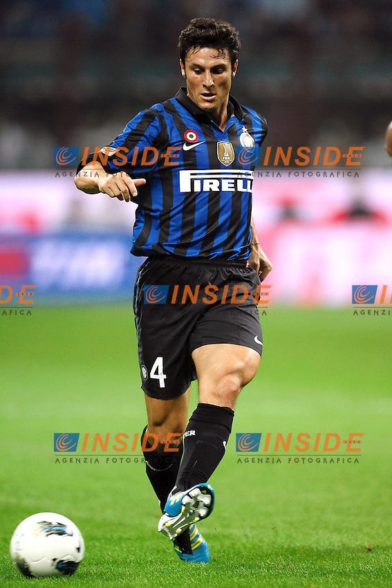"""JAvier ZANETTI Inter.Milano 01/10/2011 Stadio """"Giuseppe Meazza"""".Football Calcio Serie A 2011/2012.Inter Vs Napoli.Foto Insidefoto Andrea Staccioli"""