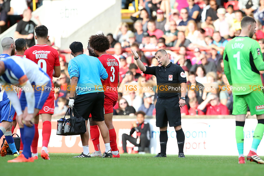 Ref Adrian Quelch sends off O's Joe Widdowson for his red card tackle on Michael Woods during Leyton Orient vs Hartlepool United, Vanarama National League Football at The Breyer Group Stadium on 13th October 2018