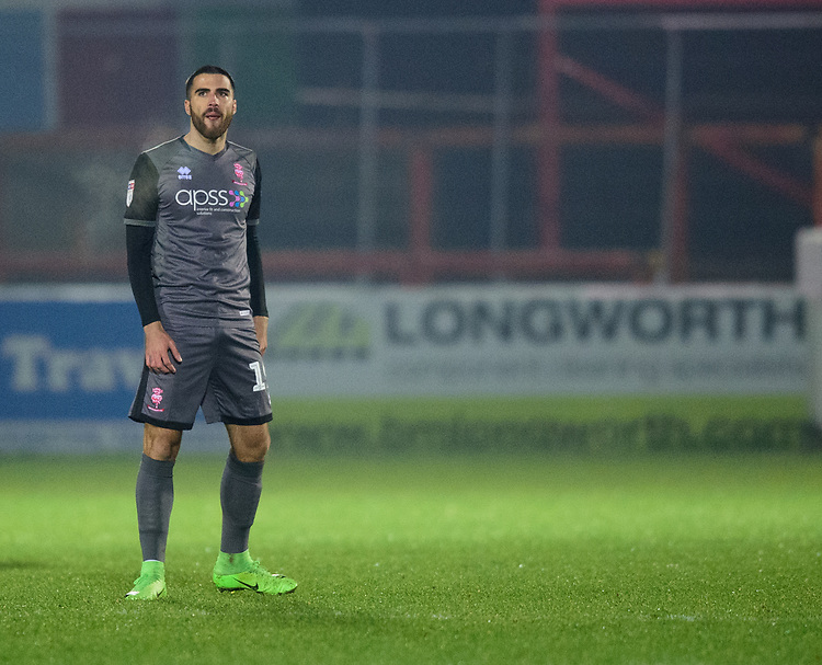 Lincoln City's Joan Luque<br /> <br /> Photographer Andrew Vaughan/CameraSport<br /> <br /> The EFL Checkatrade Trophy Second Round - Accrington Stanley v Lincoln City - Crown Ground - Accrington<br />  <br /> World Copyright &copy; 2018 CameraSport. All rights reserved. 43 Linden Ave. Countesthorpe. Leicester. England. LE8 5PG - Tel: +44 (0) 116 277 4147 - admin@camerasport.com - www.camerasport.com