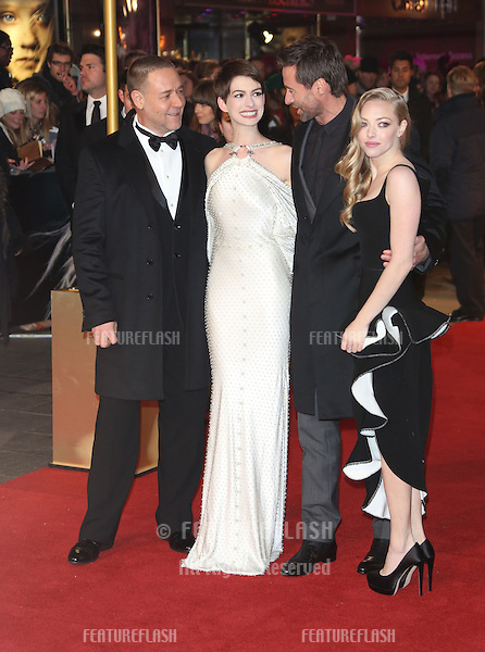 Russell Crowe, Anne Hathaway, Amanda Seyfried Hugh Jackman, Tom Hooper arriving at the World Premiere of 'Les Miserables' held at the Odeon & Empire Leicester Square, London. 05/12/2012 Picture by: Henry Harris / Featureflash
