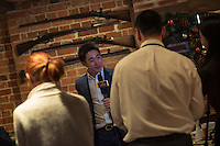 Peter Zhang, Managing Director, SinoFortone Group, is interviewed by theChinese media,  outside the The Plough at Cadsden, Buckinghamshire. The group bought the pub after it was visited by Chinese Premiere Ji Jinping last year, and aim to develop  a chain of English-style pubs China.<br /> <br /> Photo by Richard Jones