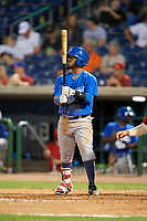 Dunedin Blue Jays left fielder Eduard Pinto (4) at bat during a game against the Clearwater Threshers on April 6, 2018 at Spectrum Field in Clearwater, Florida.  Clearwater defeated Dunedin 8-0.  (Mike Janes/Four Seam Images)