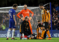 Hull City Club Doctor, Mark Waller, comes onto the pitch to attend to the injured, Harry Wilson during Chelsea vs Hull City, Emirates FA Cup Football at Stamford Bridge on 16th February 2018