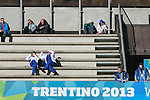 Sun bath during the women 7.5 km sprint Biathlon race as part of the Winter Universiade Trentino 2013 on 15/12/2013 in Lago Di Tesero, Italy.<br /> <br /> &copy; Pierre Teyssot - www.pierreteyssot.com