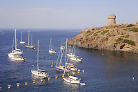 - Capraia island (Tuscan Archipelago) yachts moored in the bay under the Genoese tower<br />