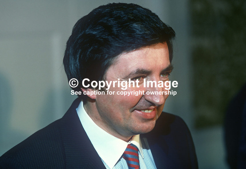 Brendan Daly, TD, Fianna Fail, Minister for Forestry & Fisheries, Rep of Ireland, 19820300036BD1..Copyright Image from Victor Patterson, 54 Dorchester Park, Belfast, UK, BT9 6RJ.  Tel: +44 28 90661296  Mobile: +44 7802 353836.Email: victorpatterson@me.com Email: victorpatterson@gmail.com..For my Terms and Conditions of Use go to http://www.victorpatterson.com/ and click on Terms & Conditions