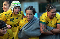 The Wallaroos huddle after the 2017 International Women's Rugby Series rugby match between the NZ Black Ferns and Australia Wallaroos at Rugby Park in Christchurch, New Zealand on Tuesday, 13 June 2017. Photo: Dave Lintott / lintottphoto.co.nz